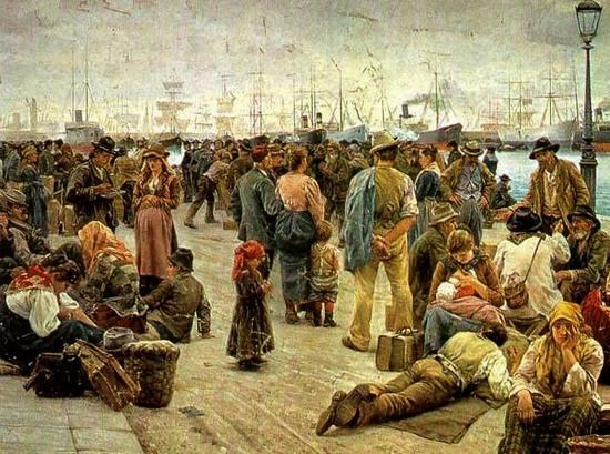 Gli Emigranti, raffigurazione di Angiolo Tomasi, 1895, Galleria d'Arte Moderna di Roma