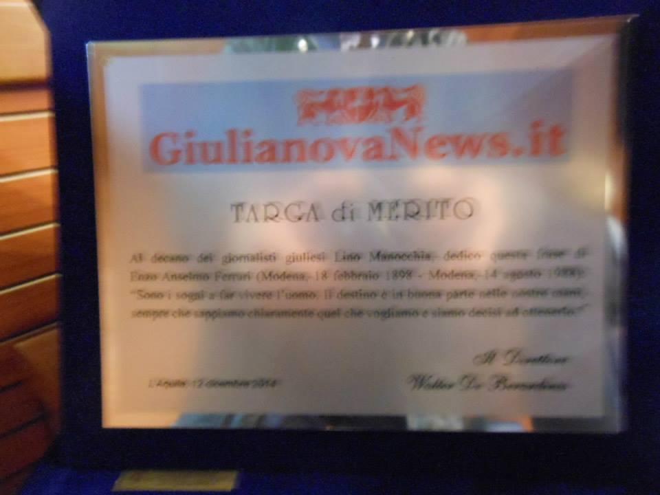 Targa di giulianovanews,it a Lino Manocchia
