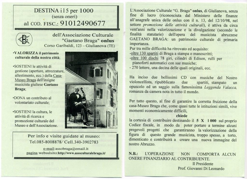 5 x Mille Associazione Culturale G Braga onlus