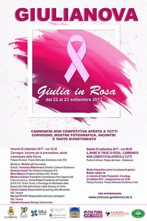 """22 e 23 settembre 2017, Kursaal, Giulianova  La Cpodi Giulianova organizza """"Giulia in Rosa"""""""