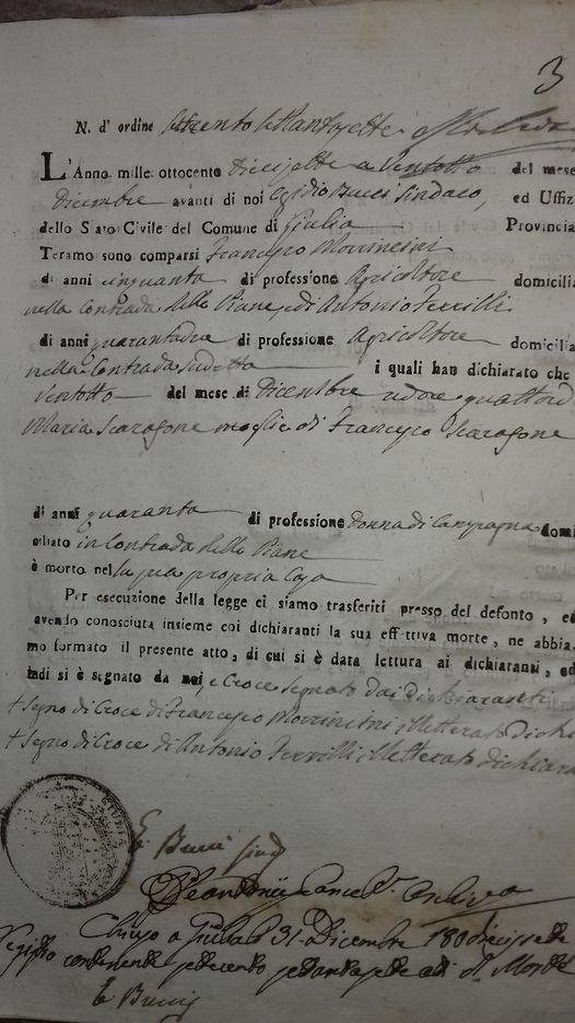 APRILE 1817 MISURE DEL COMMISSARIO SANITARIO A GIULIANOVA PER SCONGIURARE L'EPIDEMIA