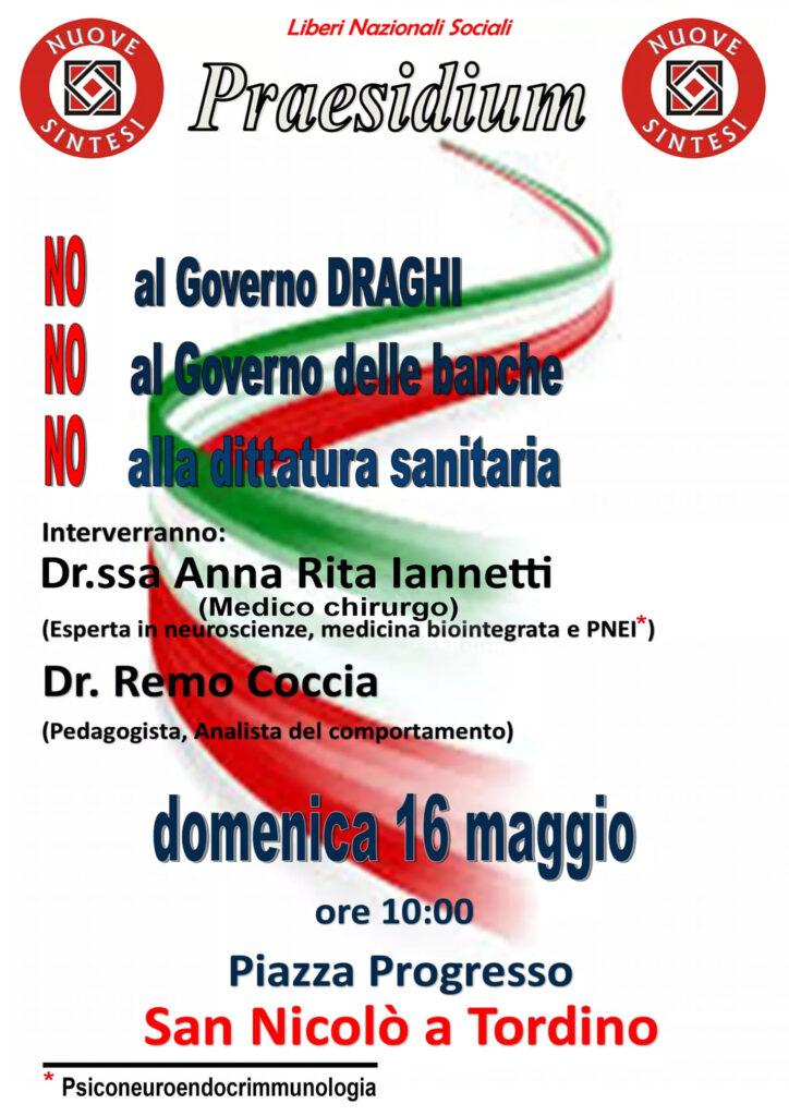 San Nicolò a Tordino (TE). Associazione Culturale Nuove Sintesi: manifestazione pubblica contro il Governo.