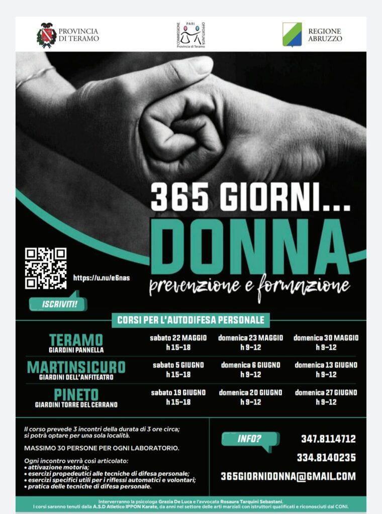 """Teramo. In presenza e all'aperto iniziano i corsi di autodifesa personale """"365 giorni donna, prevenzione e formazione"""". Si comincia ai Giardini Pannella a Teramo."""