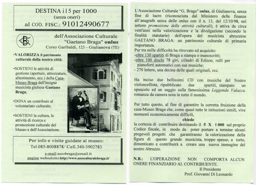 "Giulianova. Richiesta donazione 5 x 1000 all'Associazione Culturale ""G. Braga"" onlus"