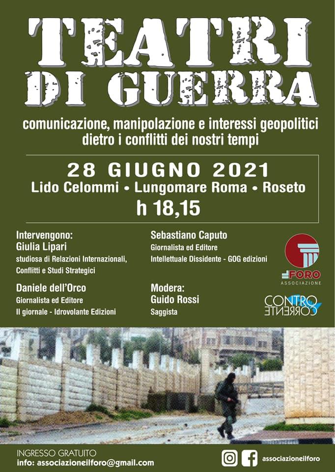 """Roseto degli Abruzzi. AL VIA DOMANI IL FESTIVAL CONTROCORRENTE CON """"TEATRI DI GUERRA"""""""