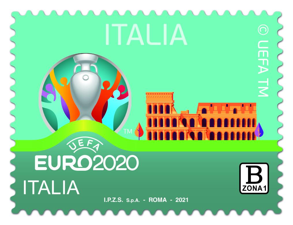"""Un francobollo ordinario appartenente alla serie tematica """"lo Sport"""" dedicato a UEFA EURO 2020 ITALIA,"""