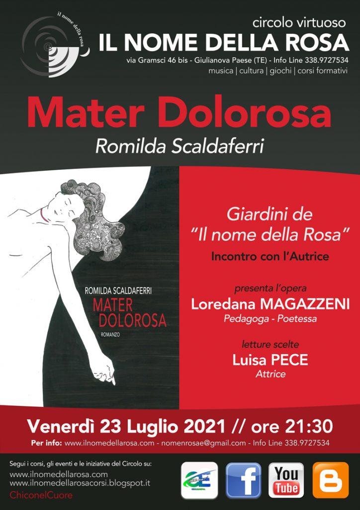 """Giulianova.    Venerdì 23 luglio ORE 21,30  NARRATIVA  """"MATER DOLOROSA""""  Incontro con:Romilda SCALDAFERRI"""
