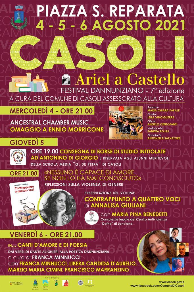 Casoli. Dal 4 al 6 agosto torna Ariel a Castello, il Festival Dannunziano organizzato dal Comune e dall'Assessorato alla Cultura di Casoli.