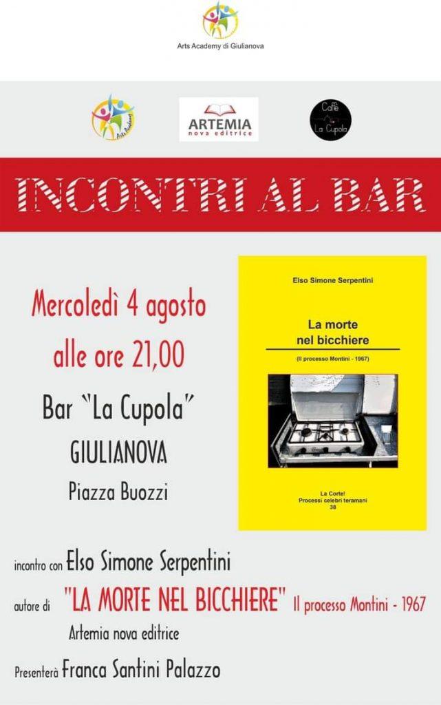 """Giulianova. Arts Academy presenta il nuovo libro del professor Elso Simone Serpentini """"La morte nel bicchiere"""" edito da Artemia Nova Editrice."""