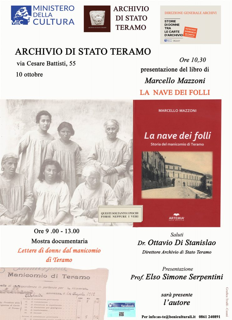 """Teramo. Archivio di Stato: Presentazione del libro """"La nave dei folli"""" e mostra documentaria delle lettere di donne dal manicomio di Teramo."""