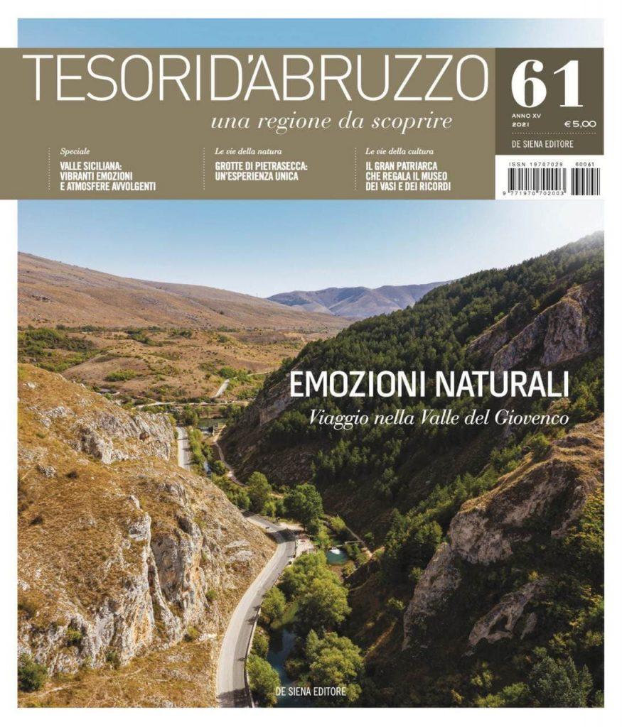 """Editoria. In edicola il numero 61 di """"Tesori d'Abruzzo"""", con due speciali alla scoperta della Valle Siciliana e della Valle del Giovenco."""